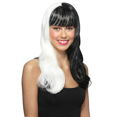 Black and White Glow In The Dark Premium Wig Halloween Costume Dress Up - NWT (Black And White Halloween Wig)