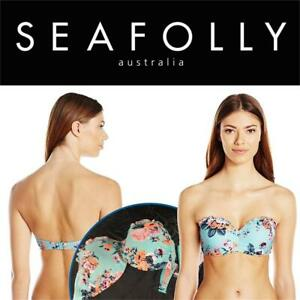 NEW Seafolly Womens Standard Bustier Bandeau Bikini Top Swimsuit Condtion: New, 14, Vintage Wildflower Iceberg