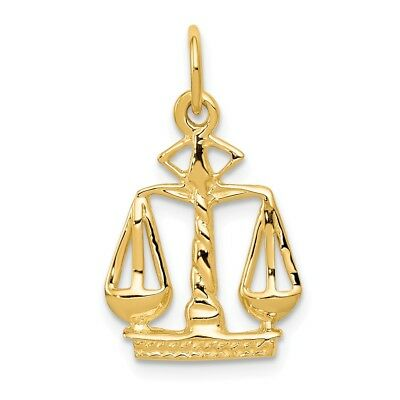 14K Yellow Gold Scales Of Justice Law Charm Pendant 0.83 Inch 14k Gold Scales