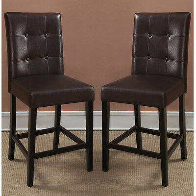 2 Pcs Dining High Counter Height Side Chair Bar Stool 24 H Espresso Faux Leather