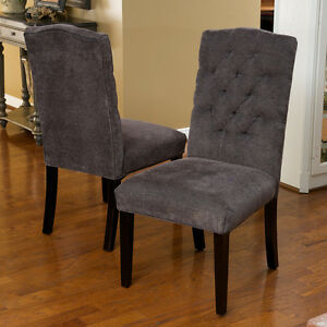 Set of 2 elegant gray linen upholstered parsons dining for Parsons dining chairs upholstered