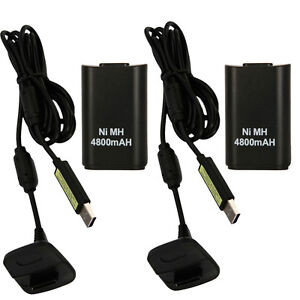 2X 4800mAh Battery Pack+ Charger Cable for Xbox 360 Wireless Controller Black US