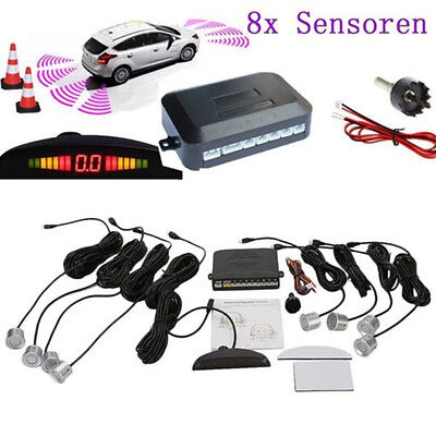 Front and Rear Car Reverse Parking 8 Sensors Kit Buzzer Alarm Audio System with