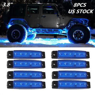 8Pcs LED Rock Light For JEEP Offroad ATV Truck Bed Under Body Fog Lights Blue