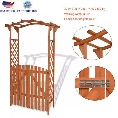 2-in-1 Garden Arch with Gate Wooden Patio Arbour Archway Waterproof Paint Finish ()