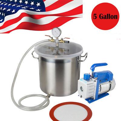 Upgraded 5 Gallon 3 Cfm Stainless Steel Vacuum Degassing Chamber Kit 3cfm Pump