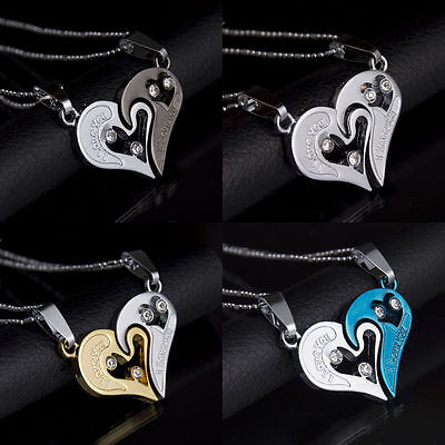 Love Heart Necklaces for Couples Black Chain Stainless Steel