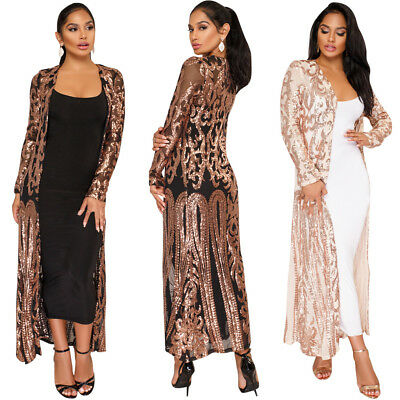 NEW Womens Long Sleeve Net Yarn Sequin Coats Clubwear Cardigan Perspective - Sequin Vest