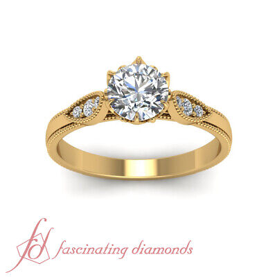 Vintage Style Engagement Ring With 0.65 Ct Round Cut Diamond 18K Yellow Gold GIA 2