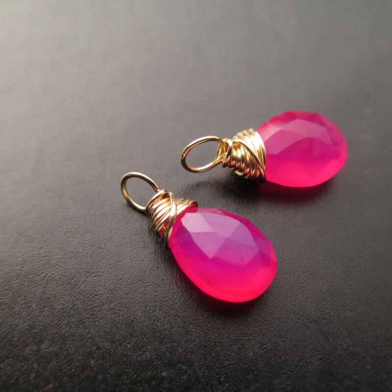 2 Hot Pink Chalcedony Gemstone Drops for Interchangeable Earrings