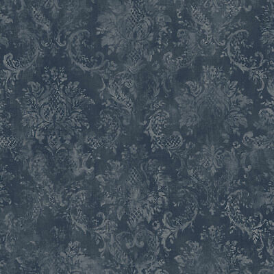 Navy Stripe Wallpaper - Norwall Wallcoverings SD36102 Stripes & Damasks 3 Canvas Damask Wallpaper Navy