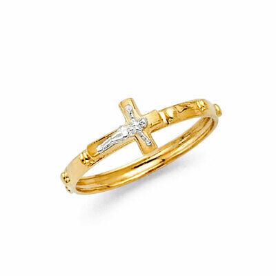 14K Real Yellow Gold Jesus Cross Catholic Finger Rosary Ring Anillo (14k Yellow Gold Rosary Ring)