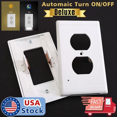 - Duplex Night Light Sensor LED Plug Cover Wall Outlet Coverplate USA