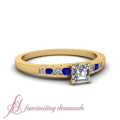 .65 Ct Sapphire Gemstone And Asscher Cut Diamond Engagement Ring Channel Set GIA