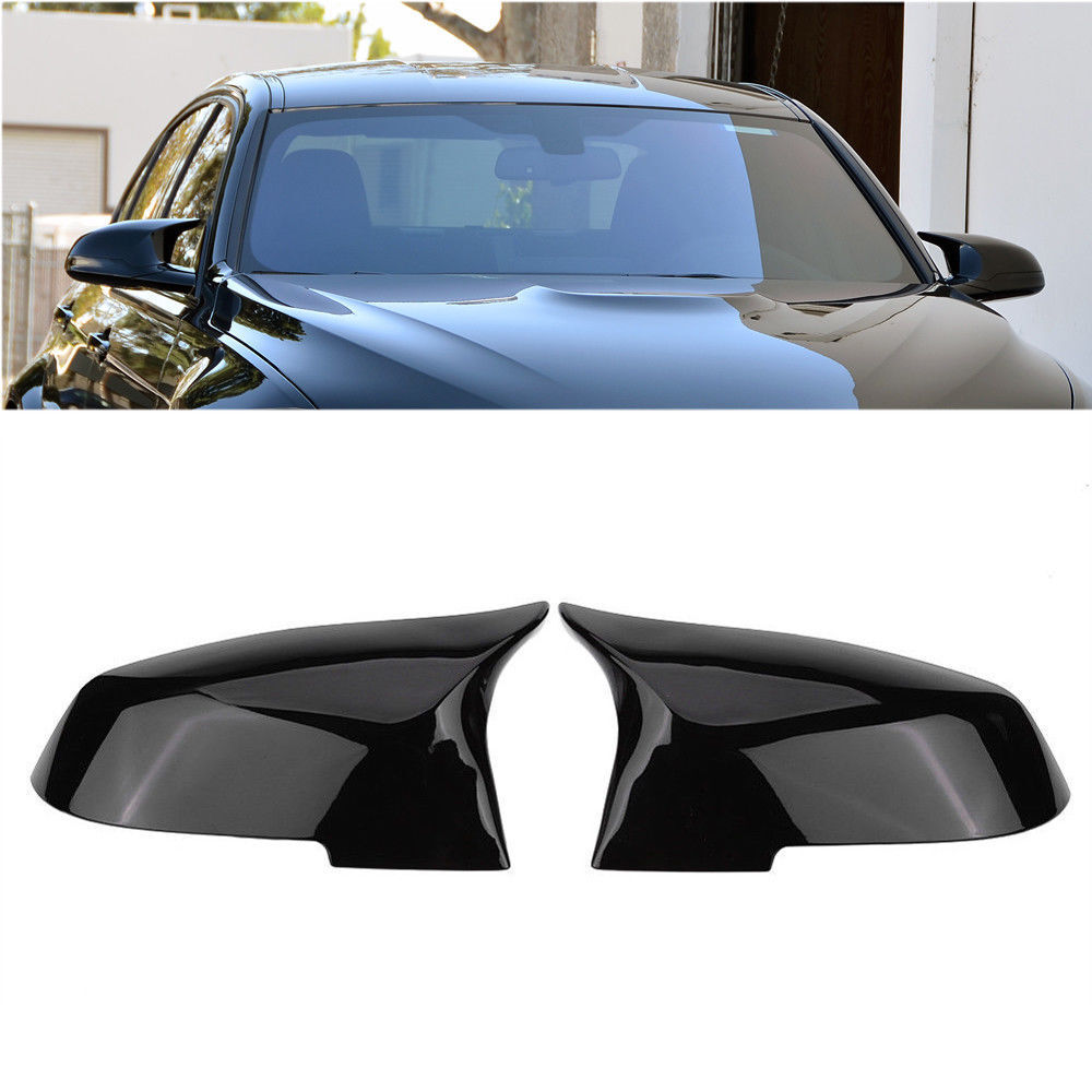SNA Gloss Black ABS Side Mirror Cover Cap Replacement Compatible for BMW 1 Series F20 2 Series F22 F23 3 Series F30 F31 F34 4 Series F32 F33 F36 X1 E84 M2 F87 2-pc Set