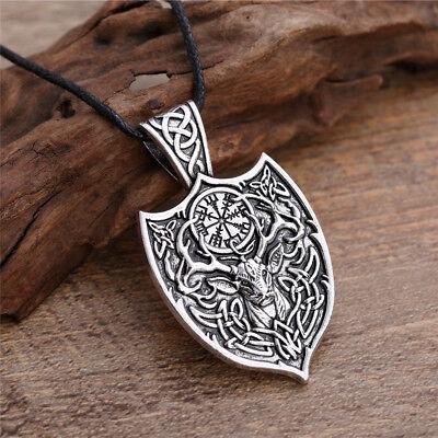 Vintage Celtic Deer Irish Knot Vegvisir Compass Shield Trinity Pendant Necklace