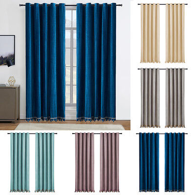 Grommet Top Drapes (Heavy Duty Pair of Velvet Window Curtains Blackout Drapes Grommet Top W/Tassel )