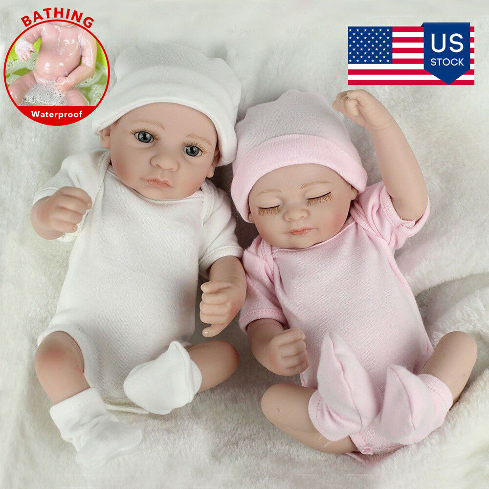 Real Life Baby Dolls Full Body Vinyl Silicone Baby Twins Boy Girl Birthday Gifts