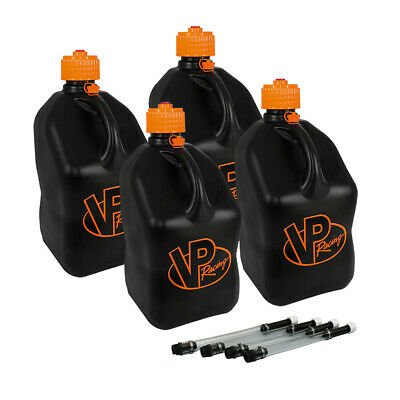 VP Racing 4 Pack V-Twin 5 Gallon Square Fuel Jug Gas Can Moto Racing / 4 Hoses
