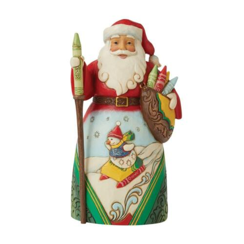 Jim Shore CRAYOLA SANTA WITH SNOWMAN SLED SCENE 6009133 Wishing You a Colorful