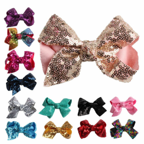 Large Big Sequin Girl Baby Boutique Hair Accessory Knot Hair Bow Alligator Clip
