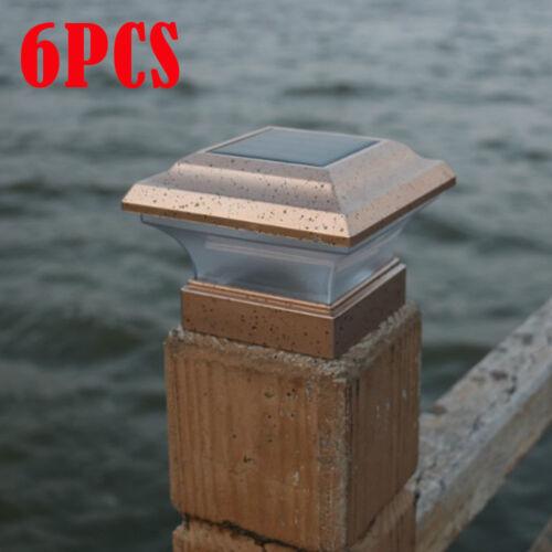 6pcs Kabellos Solar Zaunpfosten Kappe Licht Kunststoff Kupfer Quadrat Lichter DE