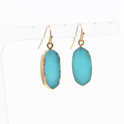 3 Colors Hexagon Shape Druzy Stone Drop Earrings with Seashell Fragment Inlay ()