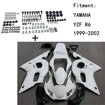 Unpainted ABS Body work Fairing Kit w/ screw For YAMAHA YZF R6 1999-2002