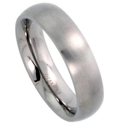 - 5mm Titanium Plain Domed Wedding Band / Thumb Ring, Matte Finish Comfort Fit