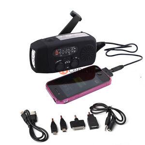 Emergency Solar Hand Crank Dynamo Flashlight AM/FM/WB Weather Radio Charger BLK