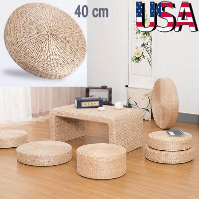 40cm Round Pouf Tatami Floor Pillow Seat Cushion Straw Meditation Soft Yoga Mat ()