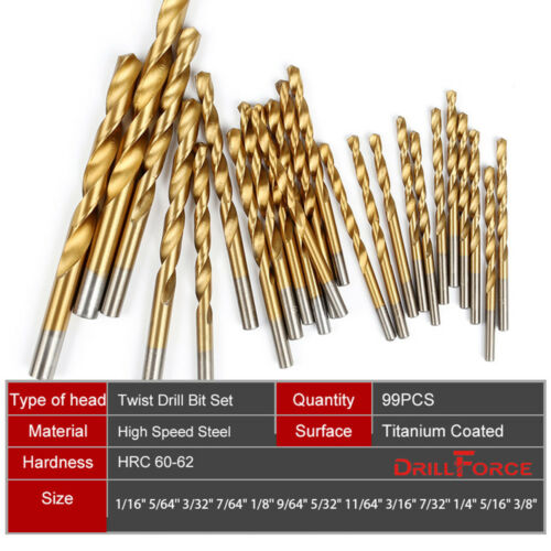 50//99pcs HSS Twist Drill Bit Set Titanium Coated High Speed Steel Quick Change