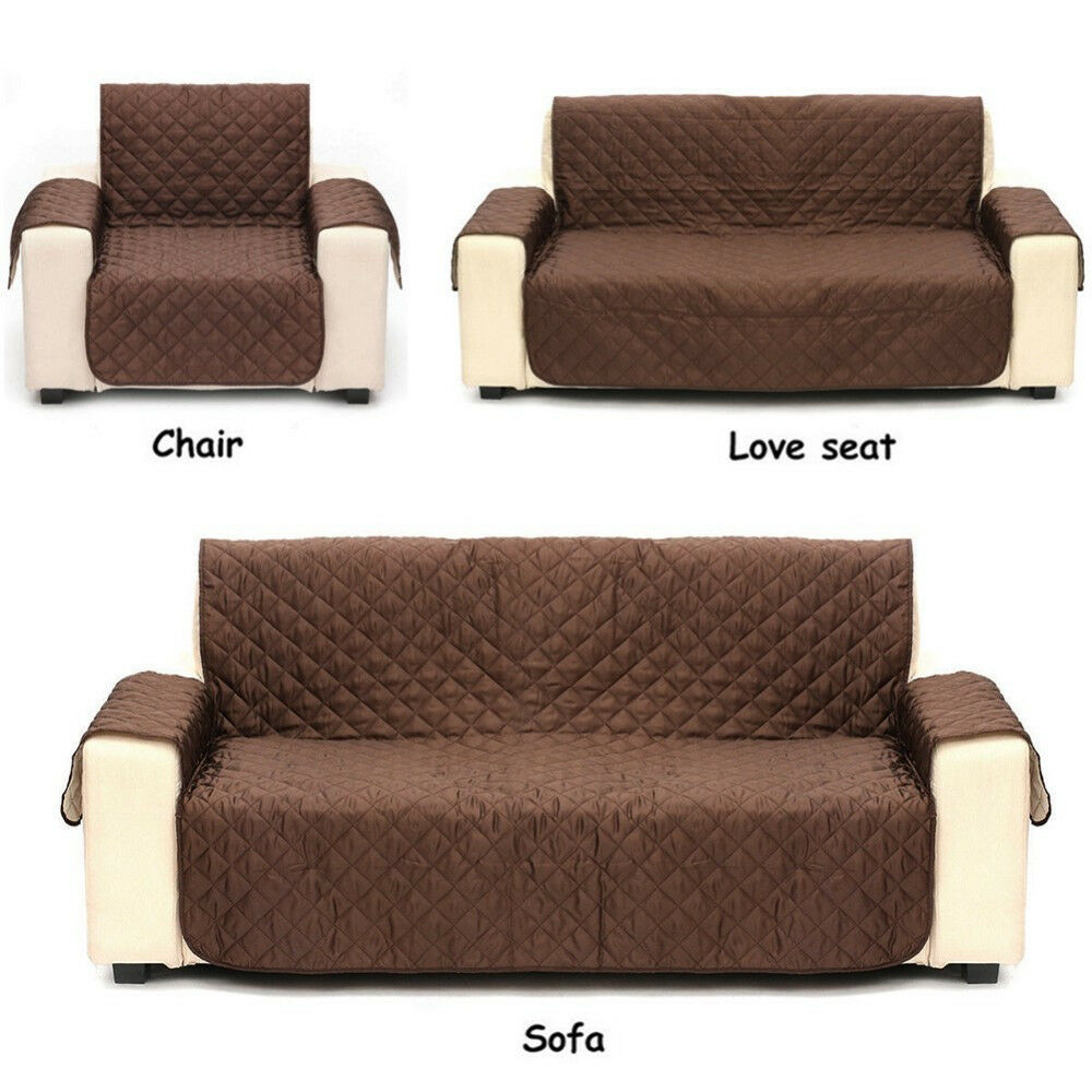 Waterproof Quilted Sofa Cover Anti Slip Couch Recliner For