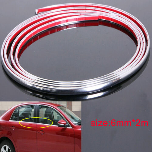 15M//6mm Chrome Self Adhesive Car SUV Edge Styling Moulding Trim Strip Protector