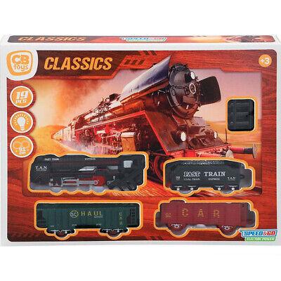 JUGUETE Tren Electrico Maquinaria Luz Sonido + 3 Vagones + 15 Vias...