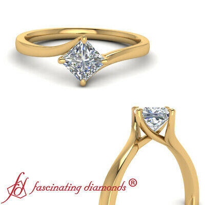 .75 Carat Solitaire Princess Cut Diamond Twisted Engagement Ring In Yellow Gold