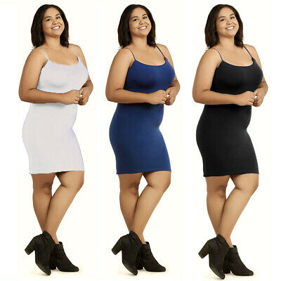 1 Plus Ladies Long Poly Slip Dress Camisole Seamless Layer Top Stretch One Size