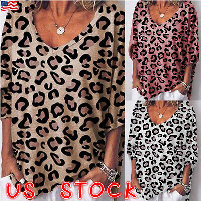 Women V Neck Ladies Leopard Print Short Sleeve Loose T Shirt Tops Blouse Summer (Woman Shirts)