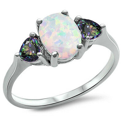 BEST SELL! White FIRE Opal & Rainbow Cz .925 Sterling Silver Ring SIze 4-11