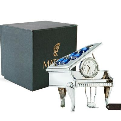 Chrome Plated Silver Vintage Piano Desk Clock with Blue Crystals by Matashi Chrome Plated Desk Clock