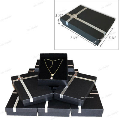 Lot Of 12 Pc Black Necklace Display Jewelry Gift Box Large Necklace Box 1.5h