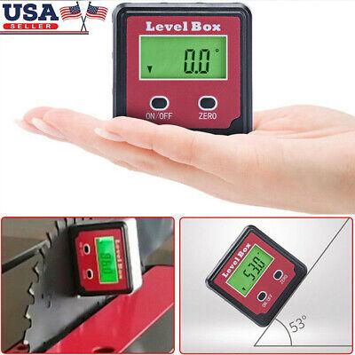 2 Key Lcd Digital Protractor Angle Meter Gauge Level Box Magnetic Inclinometer