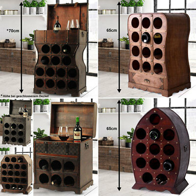Braun Kolonialstil (Kolonial Stil Wein Regal Glas Flaschen Ständer rustikal Schrank Truhe Holz braun)