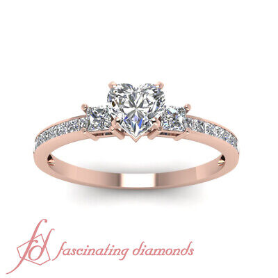 1.65 Ct Rose Gold Heart Shaped Diamond 3 Stone Ring With Princess Accents GIA 1