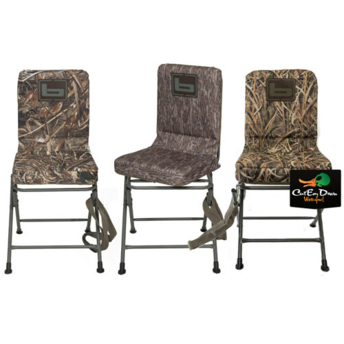 NEW BANDED GEAR SWIVEL BLIND CHAIR - DUCK HUNTING CAMO PIT SEAT STOOL PADDED -