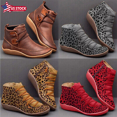 Womens Leopard Ankle Boots Suede Round Toe Shoes Casual Flat Zip Up Booties US New Wedding Bridal Womens Shoes