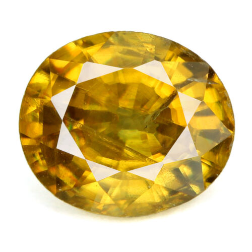 1.65 ct. AAA GOLD YELLOW NATURAL SPHENE UNHEATED OVAL 7.4 X 6.5 X 4.2 mm.