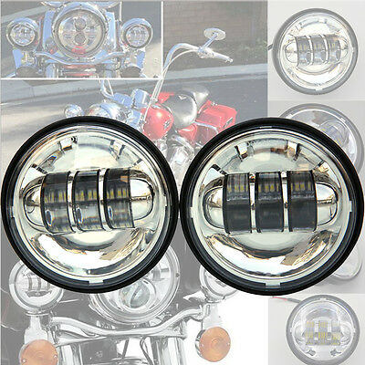 New 4 5Inch 60W Led Fog Light Passing Lamp For Harley Davidson Motorcycle Silver