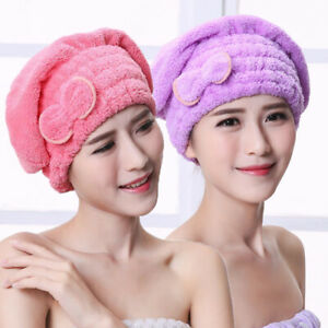 Women Hair Quick Drying Microfiber Towel Turban Knot Twist Loop Wrap Hat Cap 1pc