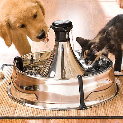 Pet Drinking Water Fountain Dog Cat Dispenser Pump Feeder Clean Stainless Steel